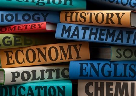 leerboek: onderwijs studieboeken met tekst leren opbouwen van kennis op school met een gezonde appel Stockfoto