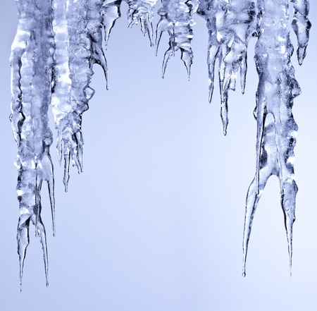 icicles sparkling white ice hanging down Stock Photo