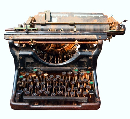 type writer: old rusty isolated typewriter vintage office equipment