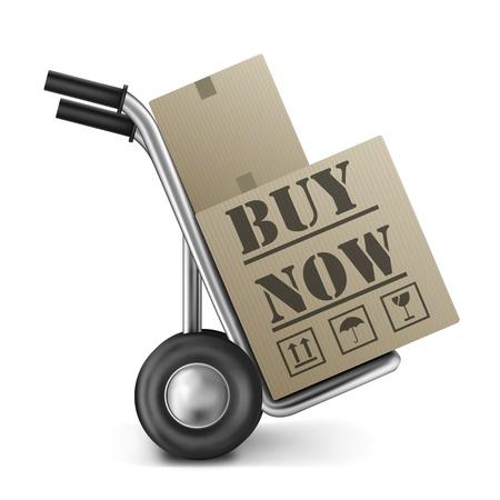 orden de compra: comprar caja de cart�n en la compra ahora en l�nea para Internet shoppingicon tienda Web Foto de archivo