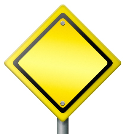 danger ahead: blank diamond yellow road sign with copy or empty space, warning icon alert for hazard danger or trouble, problems ahead Stock Photo
