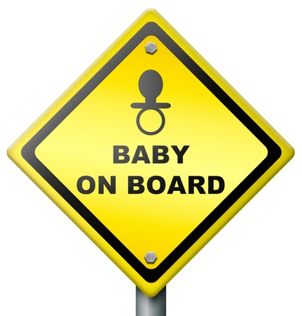 baby on board: baby on board, sign warning for presence of baby in car or vehicle, drive safe, yellow diamond icon safety sticker