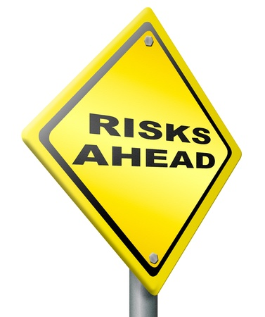 risks ahead: risk ahead warning sign in yellow danger and hazard in near future fear for hazard Stock Photo