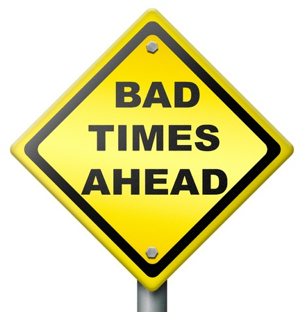 pessimist: bad times ahead problems in near future road sign in yellow warning for big troubles crisis and failure lead to recession pessimistic prediction negative view to future and pessimism