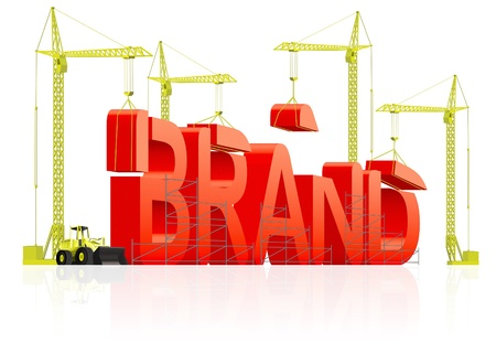 brand name: Brand development or creation of strong red product name marketing quality label trademark branding identity building word by cranes concept for market strategy
