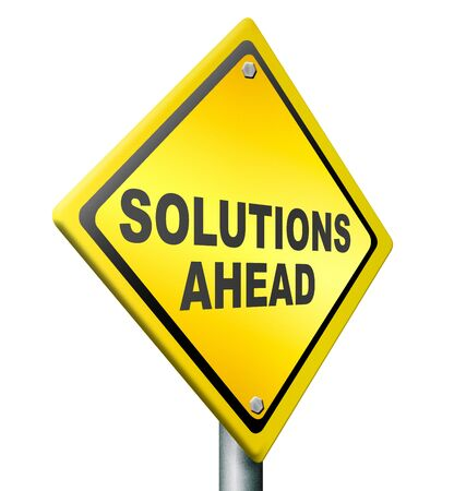 solution ahead, answer to solve all your problems, resolution yellow warning road sign Stock Photo - 11846744