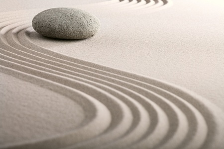 zen sand stone garden japanese meditation relaxation and spa image spiritual balance round rock Stock Photo