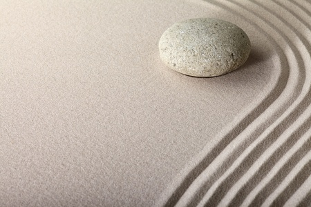 zen sand stone garden japanese meditation relaxation and spa image spiritual balance round rock Stock Photo - 11980119