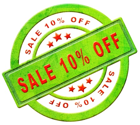 sale 10% off red text on green sales on online web shop intenet shopping icon or button Stock Photo - 12440943