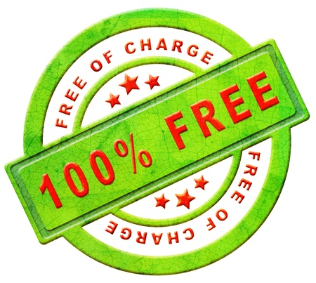 free of charge gratis label gift present 100% icon promotion free sample promotional free trial red text on green button isolated on white photo