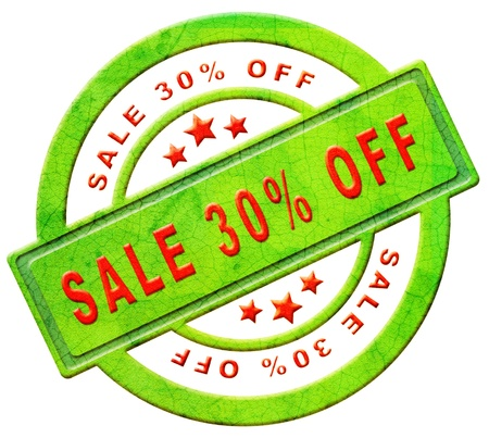 sale 30% off red text on green sales on online web shop intenet shopping icon or button photo