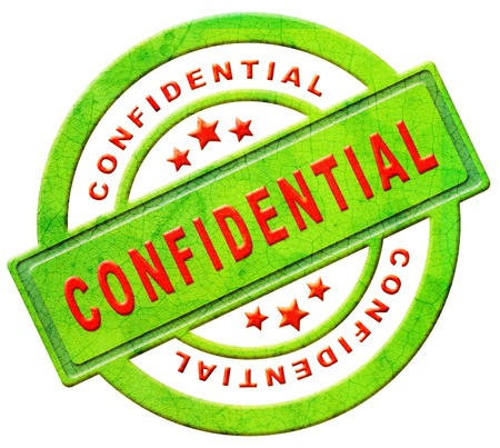 confidential secret or private personal information stamp or icon in red text on green isolated on white espionage spy info photo