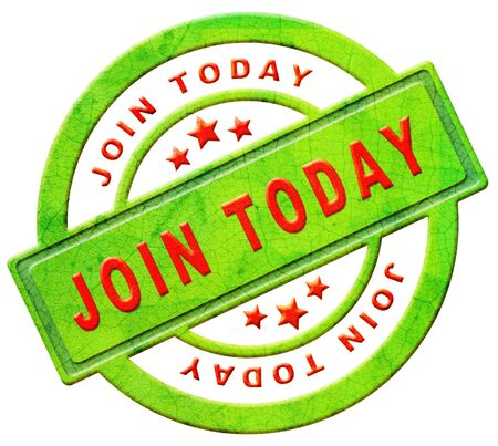 join now member registration here register button or icon red text on green sticker isolated on white photo