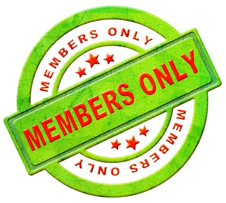 private club: members only restricted area vip access membership icon or label in red text isolated on white closed community