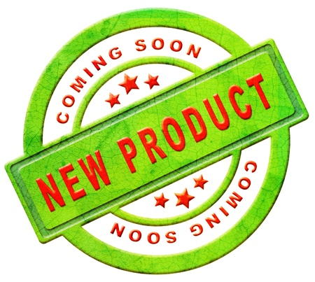 new product: new product coming soon announcement arriving and available soon advertising news Stock Photo