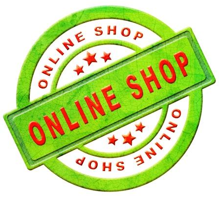 tienda online o la tienda Web de texto icono rojo en el concepto de botón verde de las ventas de las compras por internet aislados en blanco Foto de archivo
