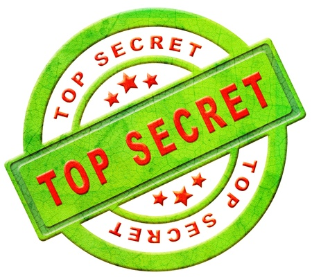 secrecy: top secret icon or stamp confidential or classified information secrecy button in red text on green isolated on white