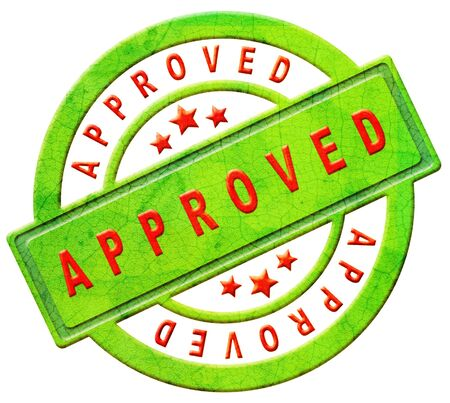 approved stamp accepted verified authorized qualify qualified approval icon or sticker in red and green with text Stock Photo - 12440961