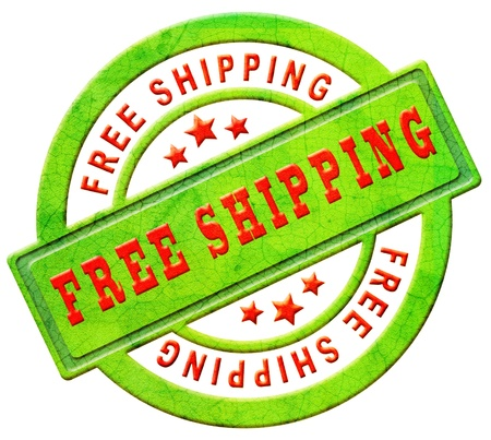 free shipping or delivery stamp or label for online web shop package or order shipment with red text logistics icon Фото со стока