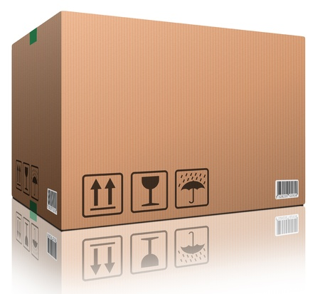 storage box: cardboard box blank with copy space and isolated on white brown package for shipping order moving or storage with labels and bar code closed and sealed Stock Photo