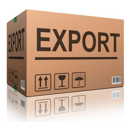 export package or exporting cargo for global and international trade worldwide business cardboard box with text and reflection exportation logistics