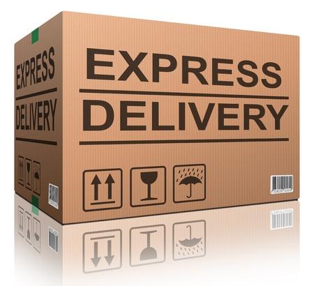 posting: rapidez de entrega urgente el env�o de paqueter�a velocidad anuncio del paquete de cart�n caja de env�o para barco Foto de archivo