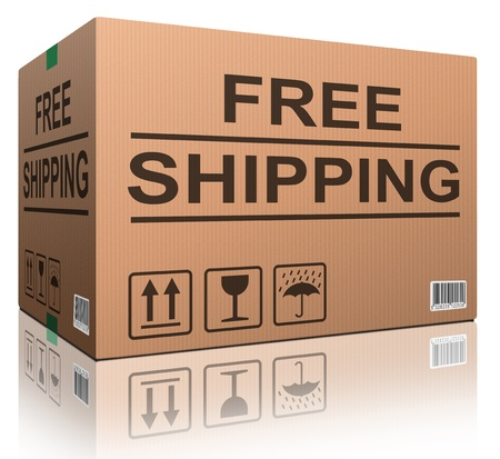 free shipping or delivery order web shop shipment in cardboard box icon for online shopping ecommerce button Stock Photo - 12443433