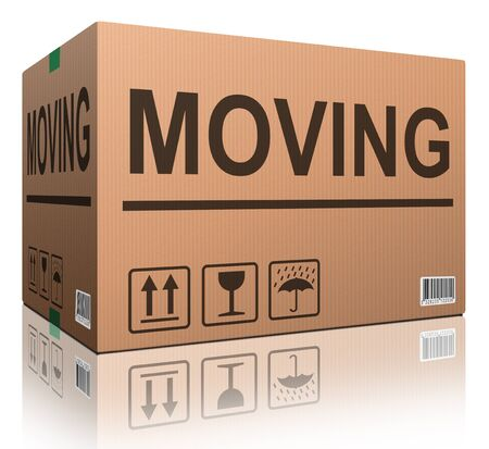 moving box cardboard brown package with text relocation photo