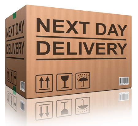 next day delivery cardboard box with text icon for web shop fast shipping of internet order ecommerce photo