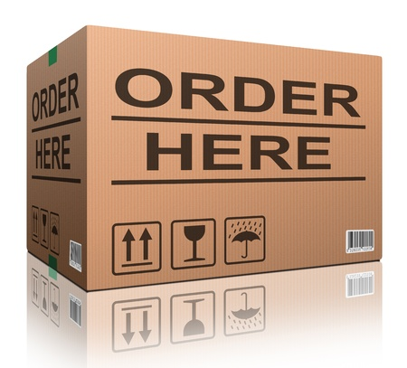 order here: order here icon for web shop or online shopping button cardboard box ecommerce concept internet commerce