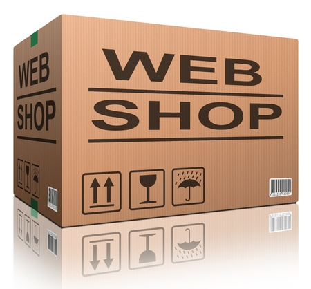 online shopping: web shop cardboard box online shopping and placing order on internet package delivery worldwide brown post parcel