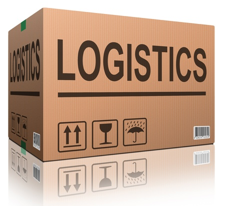 shipment parcel: logistics freight transportation cardboard box with text logistic transport import or export of products isolated