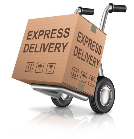 sack truck: express delivery cardboard box on hand truck with text concept for order shipping of online webshop package sending for web shop commerce