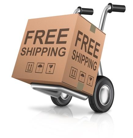 送料: 送料無料やインター ネット ショッピングのためのパッケージの概念を送信テキスト e コマース アイコンと web ショップの段ボール箱のオンライン注文の配信