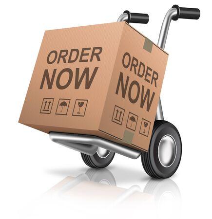 pappkarton: Jetzt bestellen Webshop Symbol Vertriebskonzept Online Einkaufen im Internet mit Web-Shop Vertriebs-Karton-Paket mit Text