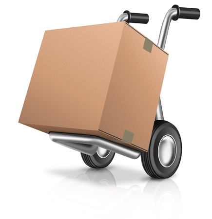 package: cardboard box on hand truck