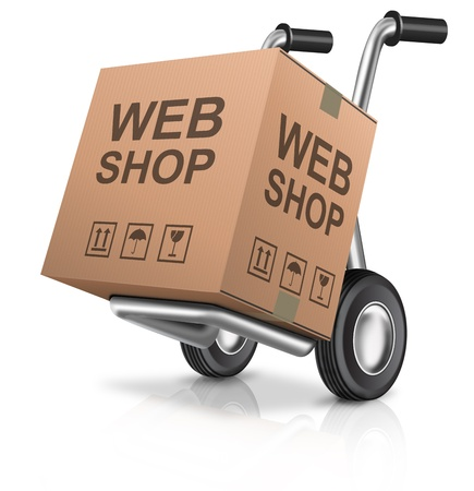 web store: Web shop icon on-line internet shopping scatola di cartone con il concetto di testo su un carrello e-commerce
