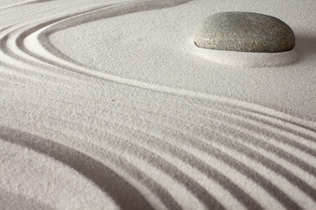 relaxation japanese zen garden with round rock sand and stone for meditaion photo