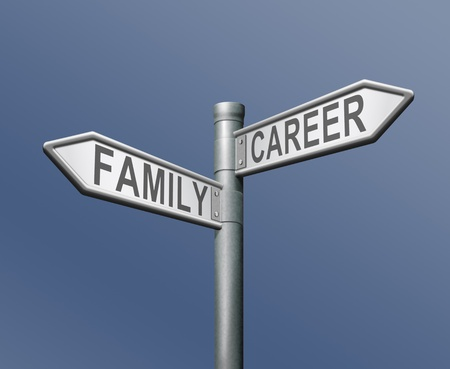 family or career difficult choice and balance between work and private life dilemma road sign arrow with text photo