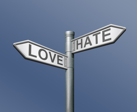 contradiction: love hate opposite choice like it or not positive or negative different taste