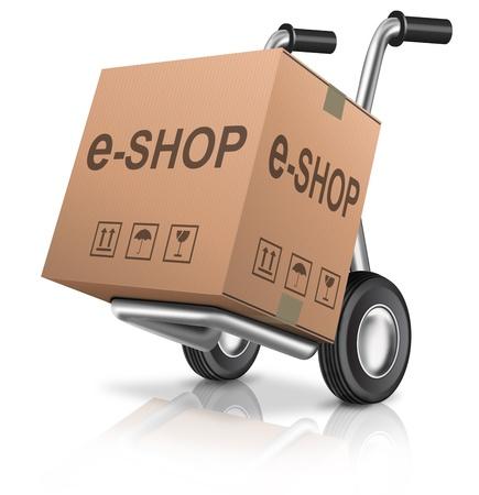 pappkarton: Web-E-Shop-Online-Internet-Symbol Warenkorb Konzept Karton mit Text auf einer Sackkarre E-Commerce Lizenzfreie Bilder