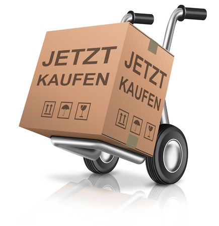 sack truck: Buy now shopping cart icon concept for online order on internet web shop cardboard box on hand truck with text e-commerce