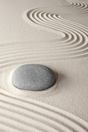 and simplicity: spiritual meditation background Japanes zen garden pebble and sand concept for purity wellness therapy and spa treatment
