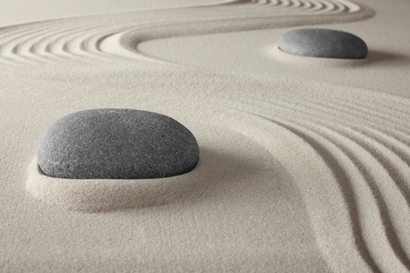 spiritual spa background zen garden with sand and rock concept for harmony relaxation and meditation tao buddism conceptual for welness treatment photo