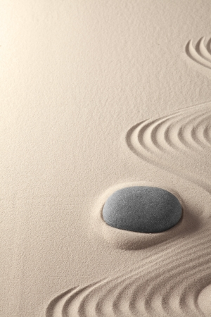 zen garden tao buddhism, sand and stone pattern form tranqility for relaxation harmony concentration and spirituality