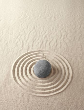 japanes: Zen meditation garden lines and patterns with sand and stones Japanes relaxation concept