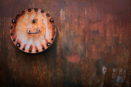 Old rusty valve on corroded tank industrial background detail with copy space Stock Photo - 14773568