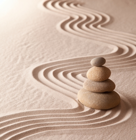 zen meditation garden, relaxation and meditation through symplicity harmony and balancce lead to health and wellness, spirituality and concentration background with copy space Stock Photo