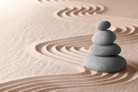 zen meditation garden, relaxation and meditation through symplicity harmony and balancce lead to health and wellness, spirituality and concentration background with copy space photo