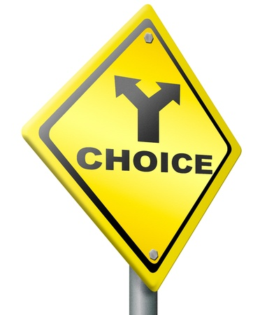 hesitation: choice make decision indecisive choose direction road sign conceptual hesitation and inconclusive to decide